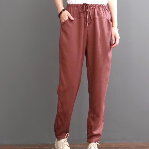 red pants burgundy silk crop pants