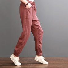 Load image into Gallery viewer, red pants burgundy silk crop pants
