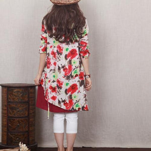 red poppy oversize linen summer dress handmade layered cotton sundress