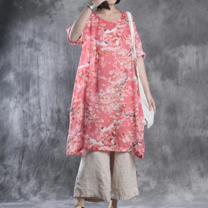 red print baggy linen dresses plus size casual sundress bracelet sleeved mid dress