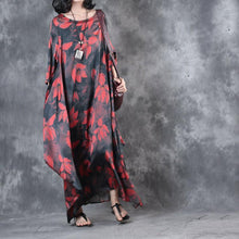 Load image into Gallery viewer, red prints summer silk sundress oversize vintage casual dresses o neck asymmetric maxi dress