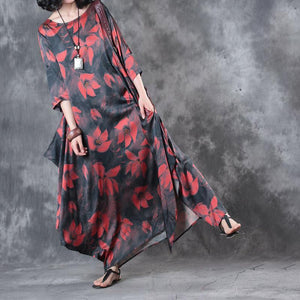 red prints summer silk sundress oversize vintage casual dresses o neck asymmetric maxi dress