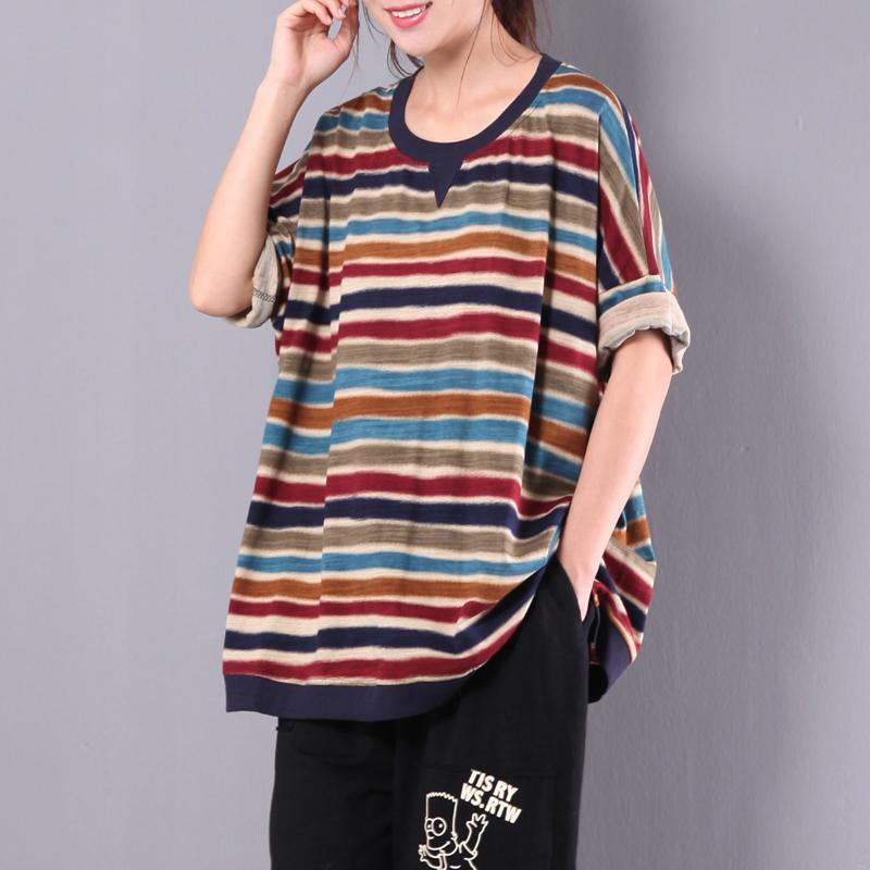 red striped women cotton tops oversize casual blouse short sleeve t shirt