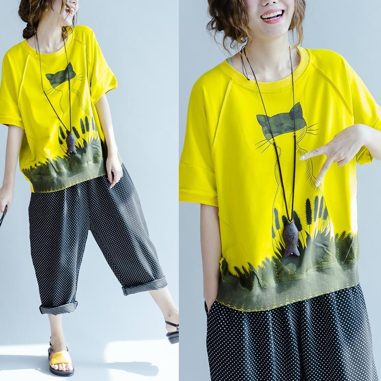 shape of the cat yellow cotton t shirts 2017 summer plus size blouses women tops