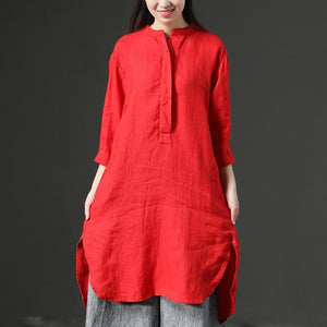 stylish Midi length cotton dress trendy plus size Red Leisure Loose Three Quarter Casual Dresses For Women