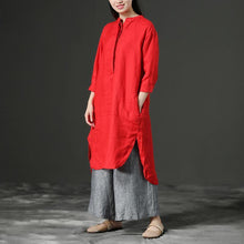 Load image into Gallery viewer, stylish Midi length cotton dress trendy plus size Red Leisure Loose Three Quarter Casual Dresses For Women