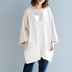 stylish beige winter sweater plus size big v neck knit sweat tops 2018 loose sleeve blouse