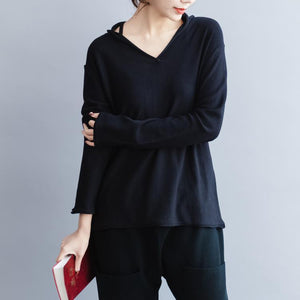 stylish black  sweater Loose fitting v neck knitted tops vintage wild winter shirt