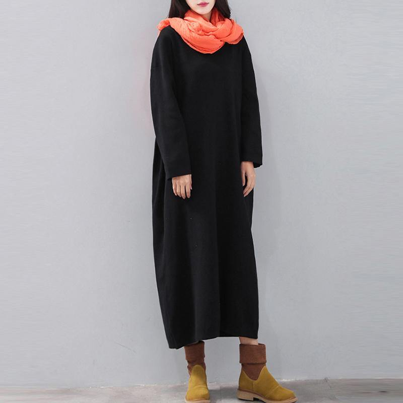 stylish black 2018 dress plus size V neck baggy traveling clothing casual long sleeve autumn dress