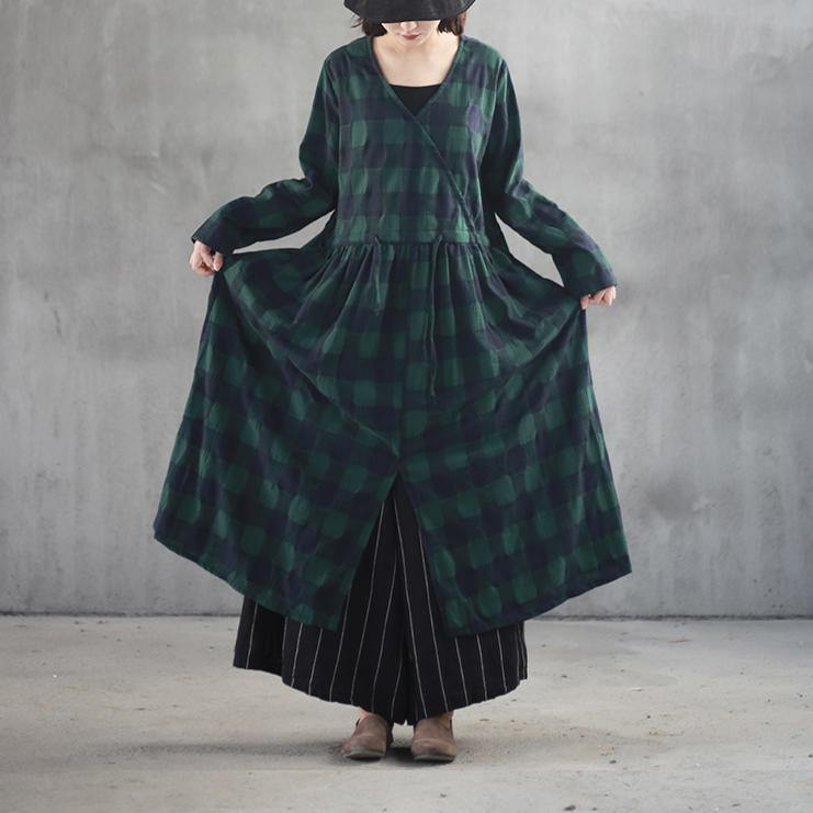 stylish black green plaid long linen dresses casual v neck fall dresses vintage front open linen caftans