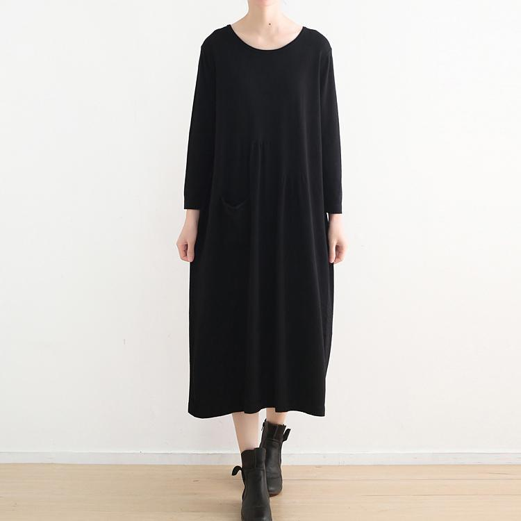 stylish black knit dresses casual o neck sweater vintage pockets winter dress