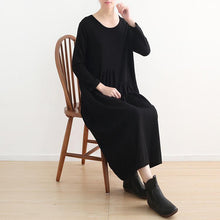 Load image into Gallery viewer, stylish black knit dresses casual o neck sweater vintage pockets winter dress