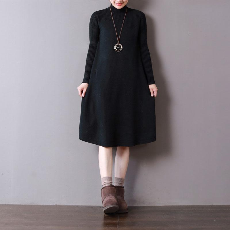 stylish black knit dresses trendy plus size high neck spring dresses baggy pullover