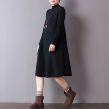 Load image into Gallery viewer, stylish black knit dresses trendy plus size high neck spring dresses baggy pullover