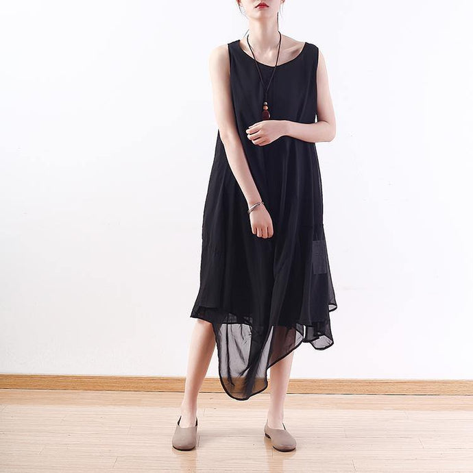 stylish black natural chiffon dress  plus size asymmetric hem chiffon maxi dress casual sleeveless caftans