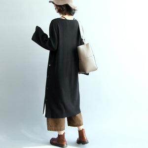 stylish black natural cotton dress plus size O neck traveling dress casual long sleeve side open maxi dresses