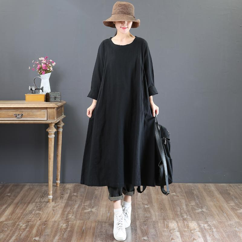 stylish black natural linen dress  casual o neck linen gown New long sleeve autumn dress