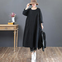 Load image into Gallery viewer, stylish black natural linen dress  casual o neck linen gown New long sleeve autumn dress