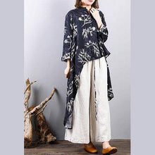 Load image into Gallery viewer, stylish black prints  natural linen t shirt plus size shirts Fine asymmetric hem low high design natural linen shirt clothing tops