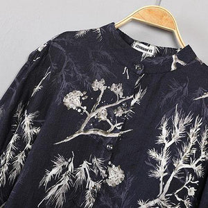 stylish black prints  natural linen t shirt plus size shirts Fine asymmetric hem low high design natural linen shirt clothing tops