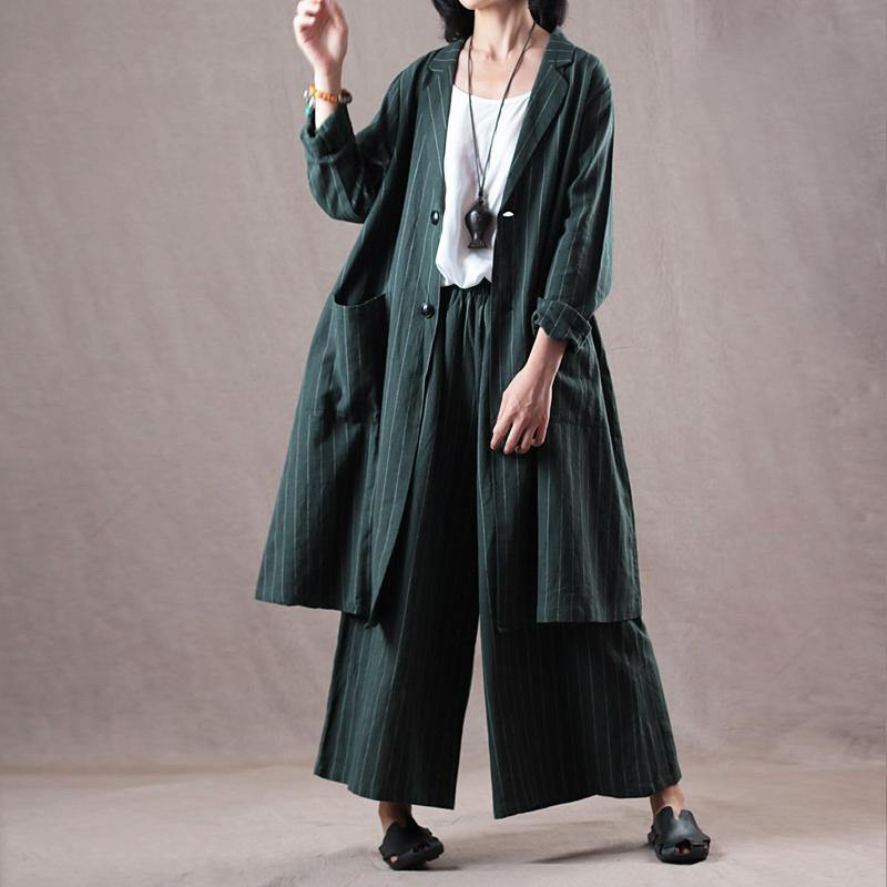 stylish blackish green  Midi-Light blouse trendy plus size linen clothing and women casual wide leg trousers
