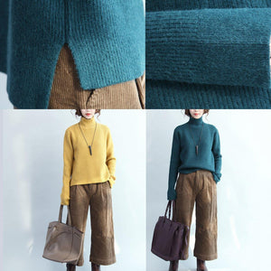 stylish blue knit sweaters Loose fitting high neck knitted blouses New side open top