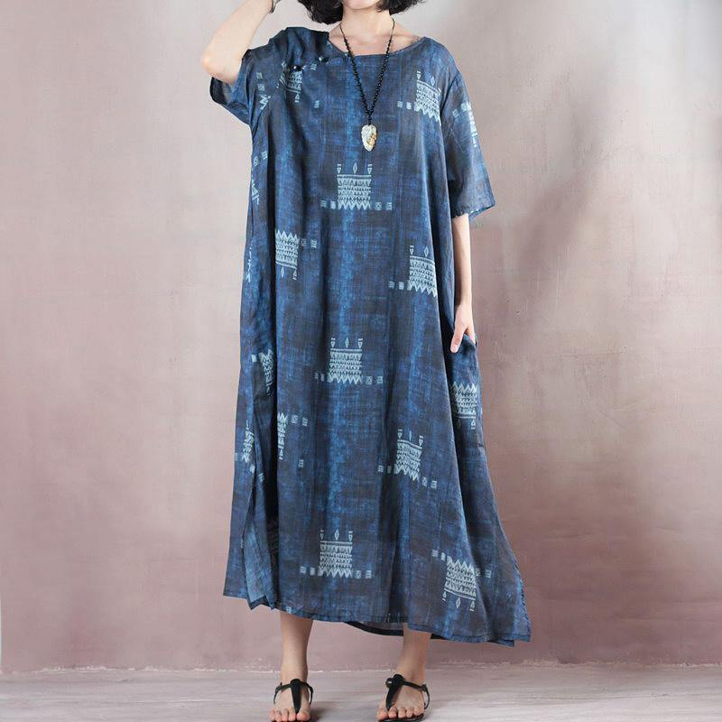 stylish blue linen dresses trendy plus size 2018 short sleeve baggy dresses caftans