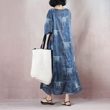 Load image into Gallery viewer, stylish blue linen dresses trendy plus size 2018 short sleeve baggy dresses caftans