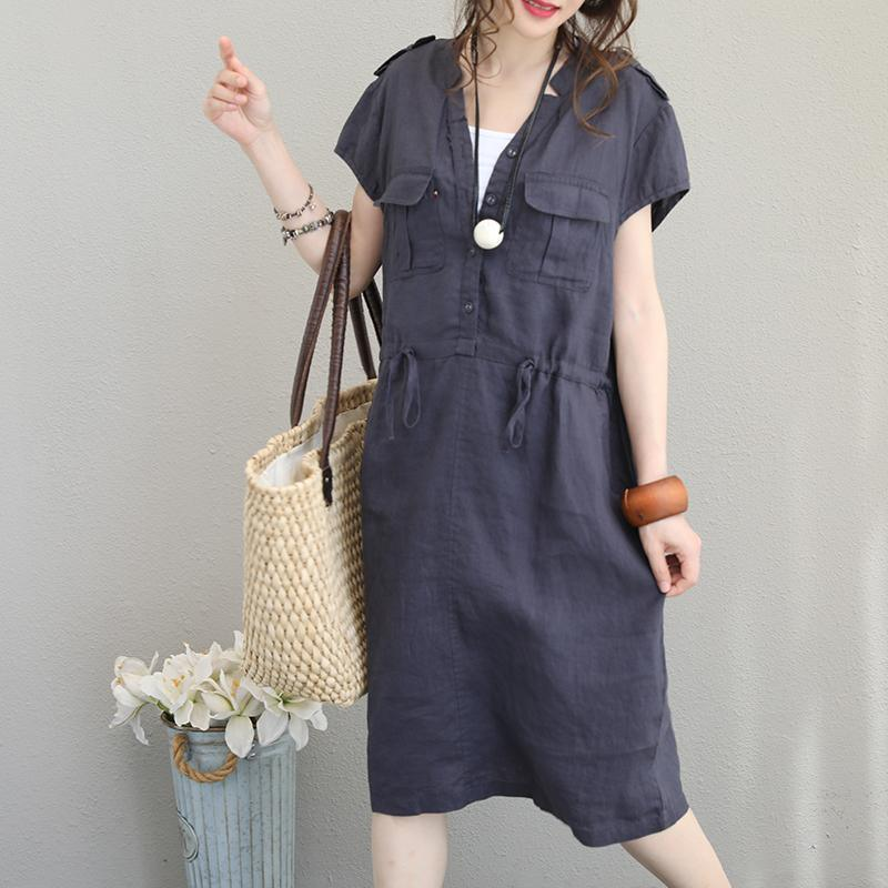 stylish blue long linen dresses plus size V neck tie waist linen maxi dress Fine pockets gown