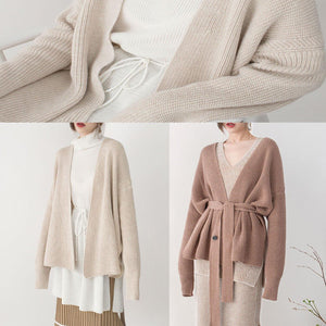 stylish brown knit sweaters Loose fitting v neck pullover 2018 tie waist winter sweaters