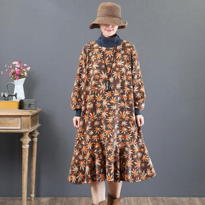 stylish brown prints  natural cotton dress  trendy plus size traveling dress stand collar top quality patchwork cotton clothing dress