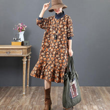 Load image into Gallery viewer, stylish brown prints  natural cotton dress  trendy plus size traveling dress stand collar top quality patchwork cotton clothing dress