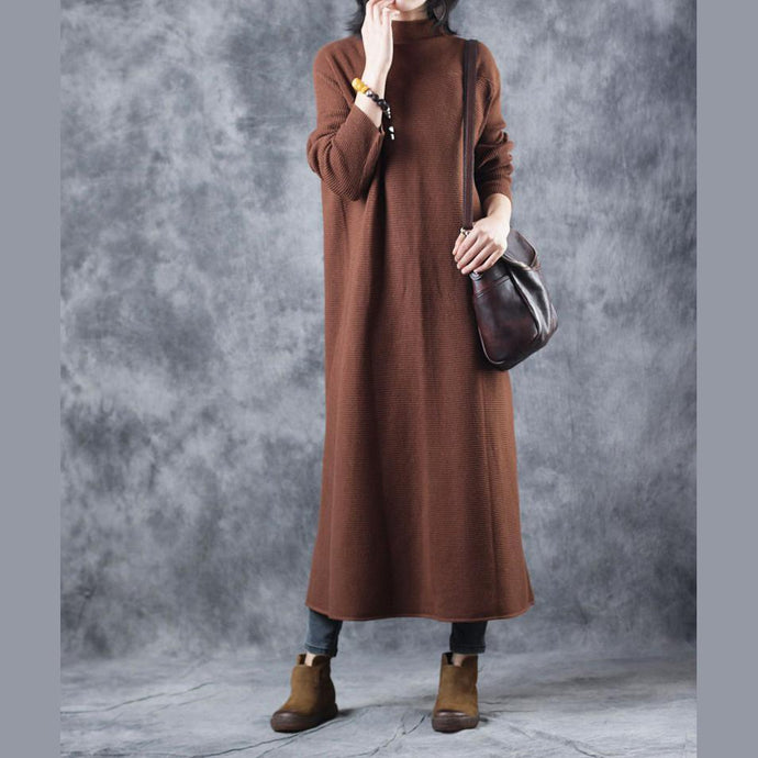 stylish brown sweater dress Loose fitting high neck pullover Elegant back side open sweater