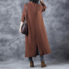 Load image into Gallery viewer, stylish brown sweater dress Loose fitting high neck pullover Elegant back side open sweater
