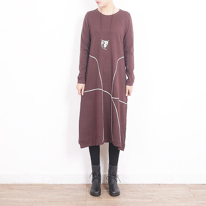 winter fashion brown sweater dress casual O neck pullover sweater top quality baggy pullover sweater