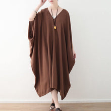 Load image into Gallery viewer, stylish chocolate chiffon maxi dress casual v neck traveling clothing Fine batwing sleeve kaftans