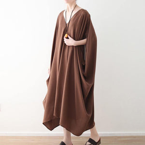 stylish chocolate chiffon maxi dress casual v neck traveling clothing Fine batwing sleeve kaftans