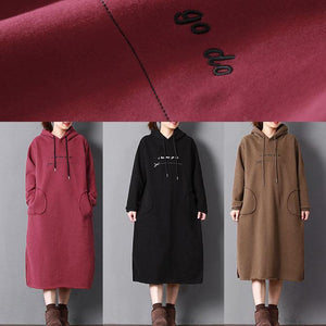 stylish chocolate cotton plus size cotton gown hooded drawstring traveling clothing pockets long dresses