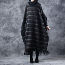 Laden Sie das Bild in den Galerie-Viewer, stylish chocolate striped knit dresses fall fashion O neck Tassel winter dresses Elegant Three Quarter sleeve long knit sweaters