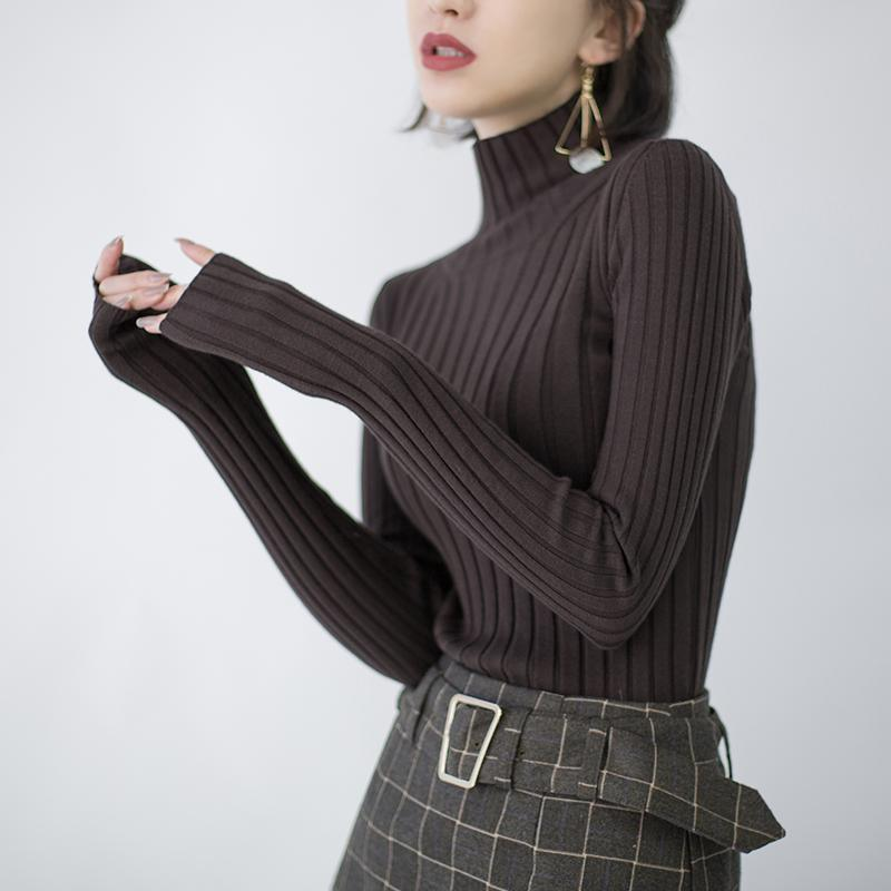 stylish chocolate sweaters oversize high neck knitted blouses Fine side open blouse