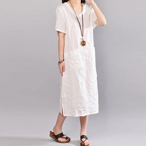 stylish cotton caftans plus size clothing Casual Summer V Neck Short Sleeve White Pullover Dress