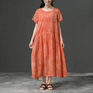 stylish cotton dress plus size clothing Cotton Orange Loose Casual Long Dress