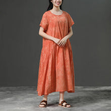 Load image into Gallery viewer, stylish cotton dress plus size clothing Cotton Orange Loose Casual Long Dress
