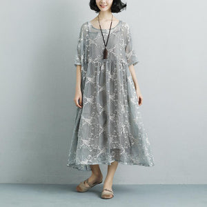 stylish cotton dresses trendy plus size Women Silk Loose Casual Gray Green Short Sleeve Dress
