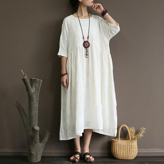 stylish cotton linen maxi dress plus size clothing Summer Cotton Linen Half Sleeve White Pleated Dress