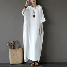 Load image into Gallery viewer, stylish cotton linen maxi dress plus size clothing Women Flax Cotton linen 12 Sleeve Embroidery White Dress