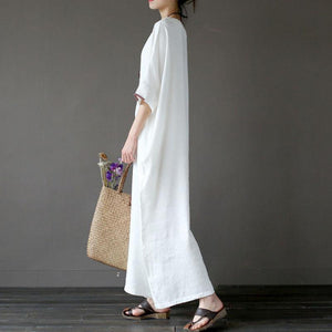 stylish cotton linen maxi dress plus size clothing Women Flax Cotton linen 12 Sleeve Embroidery White Dress