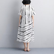 Load image into Gallery viewer, stylish cotton summer dress oversized Women Summer Round Neck Short Sleeve Printed Dress