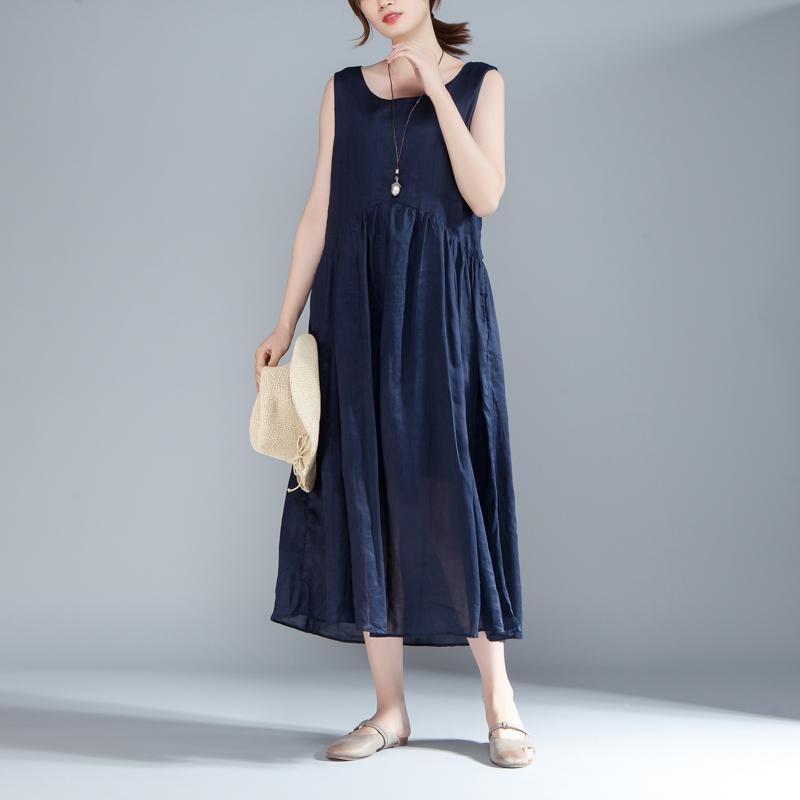 stylish cotton summer dress plus size clothing Women Sleeveless Pleated Lacing Plain Blue Dress