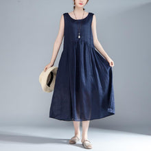 Load image into Gallery viewer, stylish cotton summer dress plus size clothing Women Sleeveless Pleated Lacing Plain Blue Dress